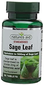 Natures Aid Sage Leaf, 500 mg, 90 Tablets (Botanical Supplement, 2 mg Rosamarinic Acids, Antioxidant, Vegan Society Approved, Made in the UK)