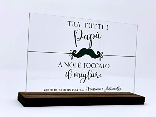 Bpaper design dad plexiglass - targhetta in plexiglass trasparente stampata ad alta definizione e personalizzabile con i nomi del figlio o dei figli.