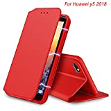 Huawei Y5 2018 Hülle, AURSTORE Handyhülle Huawei Y5 2018 Tasche Leder Flip Case Brieftasche Etui Schutzhülle für Huawei Y5 2018 Cover (Rot)