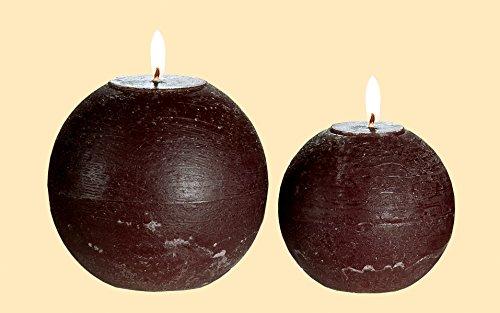 Kugelkerze Wachs braun Brenndauer ca. 29 Stunden, Ø 8 cm, Licht, Light, Stimmung