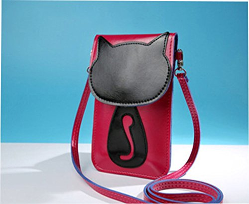 Modakeusu Crossbody borsa a tracolla carino 3D modello animale in sacchetto, Black, Cat Rose pink