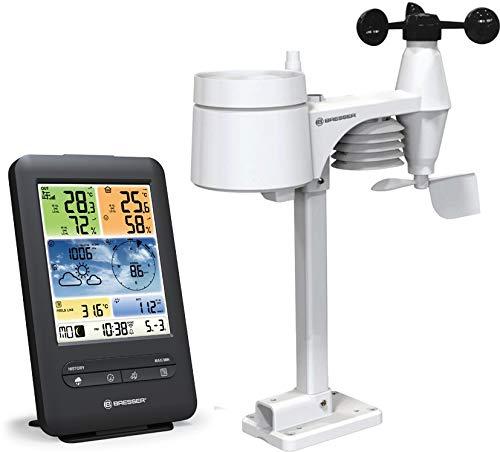 Bresser Wetterstation Funk mit Außensensor WLAN Farb Wetter Center 5-in-1 mit Außensensor für Temperatur, Luftfeuchtigkeit, Luftdruck, Windmesser und Regenmesser, schwarz