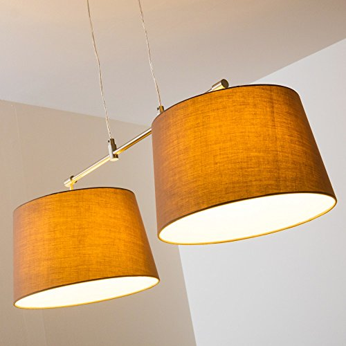 Pendelleuchte aus Stoff  – 2-flammige Zimmerlampe Höhenverstellbar, Farbe Cappuccino - 6