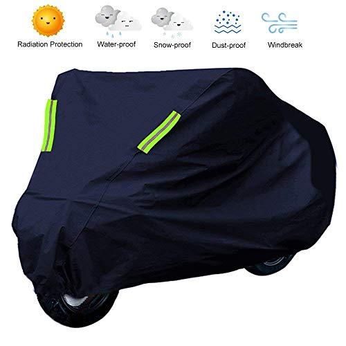 GREADEN Motorrad-Abdeckung, wasserdicht, UV-Schutz, Atmungsaktiv im Freien gegen Staub & Schnee - Schutz außen und Innen groß Winddicht und staubdicht (265 x 105 x 125 cm)