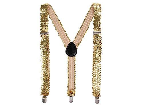 Alsino Pailletten Hosenträger bunt Glitzer mit 3-Clips Y-Form, Variante wählen:PHO-08 Gold