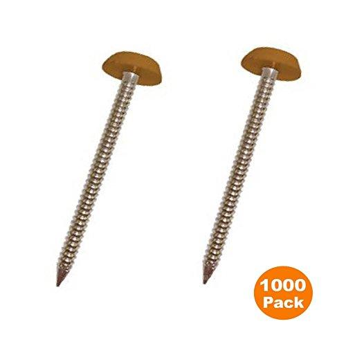 1000x 40mm helle Eiche/Hellbraun Poly Tops uPVC Pins Nägel Kunststoff Leuchtköpfen Polytop
