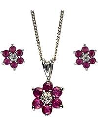 Pranda 181E0734-01-181P0625-05 - Juego de joyas de oro blanco de 9 quilates con rubí (.005)