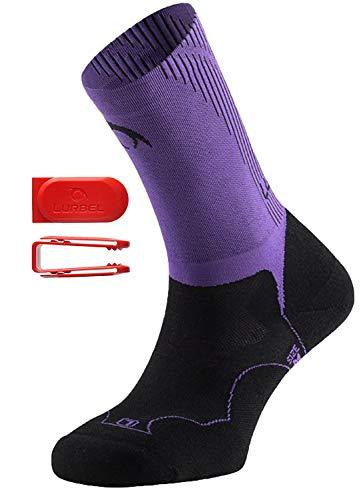 Lurbel Gravity Premium Trail Running Kompressionsstrümpfe Anti-Blister, Frauen, Gravity W.0027.L, schwarz/violett, L 7.5-9.5 -