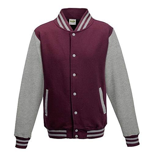 Just Hoods Blouson College 'Varsity' unisexe, Femme Homme Mixte, College Jacke 'Varsity Jacket', Burgundy/Heather Grey, s