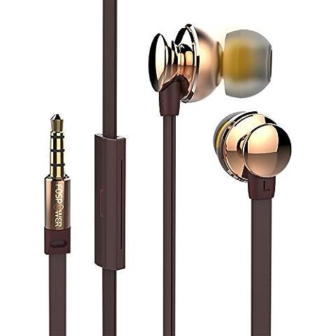 In-Ear Headphones, FosPower BlackOnyx BX10i [Rich Bass frecuencias | ruido aislar | Plano Cable] Stereo Auriculares con Micrófono y Audio Controlar [Oro Chapado 3.5mm TRRS Plug] -