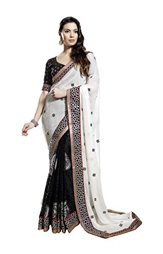Mansi Sarees Crepe Saree (Man110_White & Black)