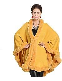 GZYD Chal Mujer Cuello de Piel Suave Mantener Caliente Otoño e Invierno Cómodo Simple Dorado Verde Abrigo…