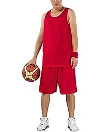 HOEREV hommes réversible Sport Basketball Shorts et chemises, pas de poches