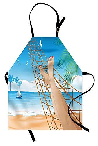 Strand-Schürze, Beine der sexy Dame, die in der Hängematte in Richtung zum Ozean in hawaiianischem tropischem, Unisexküchen-Latzschürze mit justierbarem Hals für das Kochen des Backens im Garten arbei