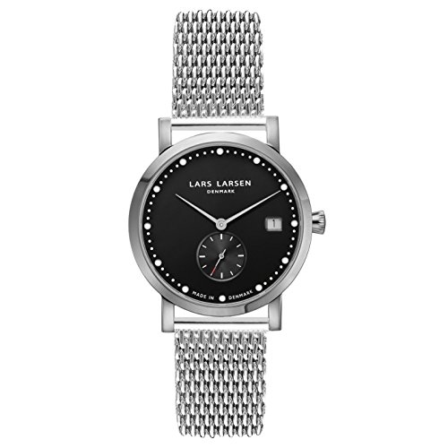 Lars Larsen Emma Women's Quartz Watch with Black Dial Analogue Display and Silver Stainless Steel Rose Gold Plated Bracelet 137SBSM