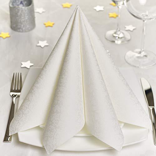 Grubly tovaglioli di carta in nozze bianchi – tovaglioli carta resistenti come tovaglioli stoffa da tavola – perfetti per ogni cerimonia – tovaglioli colorati 40 x 40 - qualità airlaid – pacco da 50