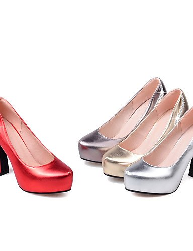 WSS 2016 Chaussures Femme-Habillé / Soirée & Evénement-Rouge / Argent / Gris / Or-Gros Talon-Talons / A Plateau / Bout Arrondi-Chaussures à Talons- silver-us3.5 / eu33 / uk1.5 / cn32