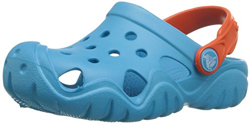 crocs Swiftwater Clog K EBl/Tng, Unisex-Kinder Clogs, Blau (Electric Blue/Tangerine 4Gq), 30/31 EU (13 Kinder UK)