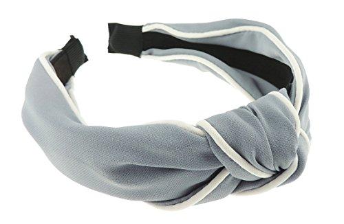 Damen Luxus Retro Boho weiß eingefasst Chiffon Knoten auf Haarreif