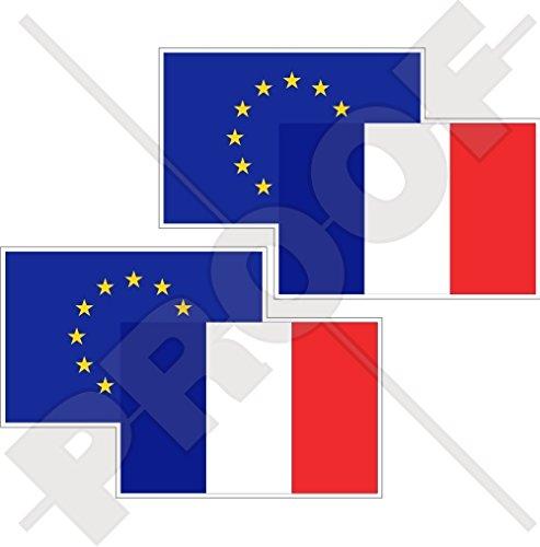 Européenne union-france Drapeau Paire, eu-fr europe-french 7,6 cm (75 mm) en vinyle Bumper Stickers, Stickers x2