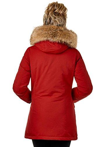 EightyFive EFW27 Damen Jacke Parka Mantel Winterjacke Echtfell Kapuze Warm Gefüttert Waschbar Schwarz Navy Khaki Rot, Größe:XS, Farbe:Rot - 4