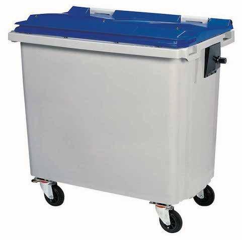 Rossignol Korok Mülltonne mit 4 Räder ohne Schiene, Farbe:Grau/Blau;Fassungsvermögen:770L (Rädern Mülltonnen Mit)