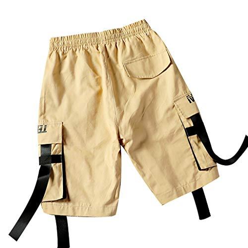 Sport & Freizeit, Herren Sommer Outdoor Casual mehrere Taschen Ribbon Overalls Shorts Hosen Malloom Ribbon Jeans Hose