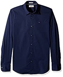 Tommy Hilfiger Tommy Jeans by Mens Button Down Shirt Original Stretch, Black Iris, X-Large
