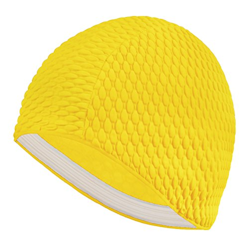 unisex-moulded-latex-flexible-bathing-bubble-swimming-cap-yellow-ns