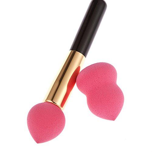 1pc Brosse Électrique Rose avec 1pc Éponge Puff avec 1pc Sac en Toile de Maquillage - Rose rouge