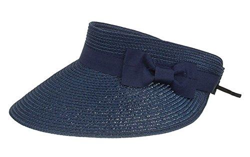 CHENNUO Visoren Damen Strohhüte Empty Top Sommer Sonnenhut Visor mit Klettverschluss (Blau)