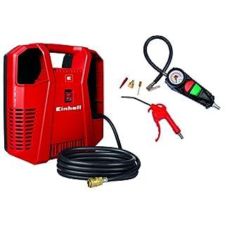 Einhell Kompressoren-Set TC-AC 190/8 OF Set (1.100 W, max. 8 bar, öl-/servicefreier Motor, leicht & mobil, 3 Meter Druckluftschlauch mit Schnellkupplung, Aufbewahrungsfach für Zubehör, inkl. Ausblaspistole, Reifenfüllmesser und 3-tlg. Adapter-Set)