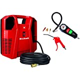 Einhell Kompressor TC-AC 190/8 Kit (1100 W, Ansaugleistung 190 L/min, 8 bar, ölfrei, inkl. Ausblaspistole & Reifenfüllmesser & Adapterset mit Reifenadapter, Ballnadel, Adapter für Luftmatratze)