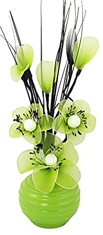 Flourish 705824 813 Green Vase with Lime Green Nylon Artificial Flowers in Vase, Fake Flowers, Ornaments, Small Gift, Home Accessories, 32cm