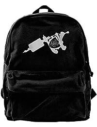sd4r5y3hg Tattoo Machine Unisex Vintage Canvas Backpack Travel Rucksack Laptop Bag Daypack Black