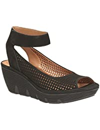 Clarks Women's Clarene Prima Nubuck Black Leather Fashion Sandals - 3.5 UK/India (36 EU)