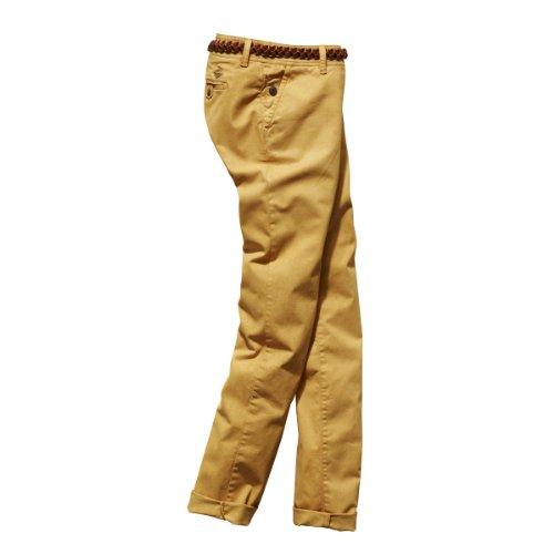 Timezone Damen Hose 16-0119 New MillaTZ chino pants incl. Belt Skinny / Slim Fit (Röhre) Normaler Bund Gelb (honey yellow 7050)