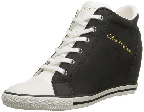 Calvin Klein Jeans VENICE WASHED NUBUCK, Scarpe da barca donna, Schwarz - Noir (Blk), 41