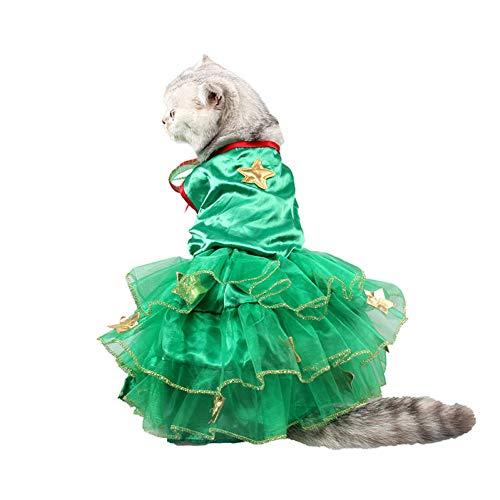 Hunde Kostüm Für Pfau - LCWYP Haustier Halloween Nette Weihnachtsgrüne Pfau Haustier Katze Hund Kleid Halloween Kostüm Cosplay Tuch Mantel Maskerade Geburtstagsfeier Haustier Versorgung