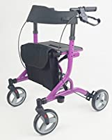 5.45kg Ultra Lightweight Aluminium Folding Rollator In Midnight Purple With Brakes, Seat & Bag