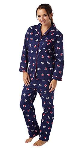 i-Smalls Damen Schlafanzug Eule oder Hund Design Hund Navy