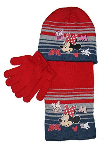 Disney set completo minnie mouse cappello sciarpa e guanti bambina taglia unica colore rosso