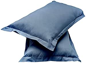 """Amazon Brand - Solimo Solid 144 TC 100% Cotton 2 Piece Pillow Covers, 18""""x 27"""", Navy(Not Pillow) Blue"""