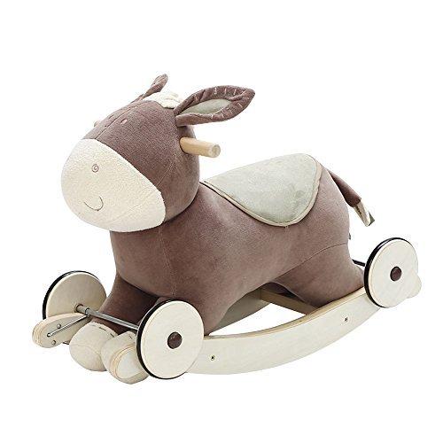 Labebe Modern Plüsch Schaukelpferd für Kleinkinder Kinder Baby Boys & Girls (bis 6 Monate Alt), Indoor Schaukeltier / Ride-on Toys / Rocker mit Rädern und Sound Paper-Cute gefüllte Esel