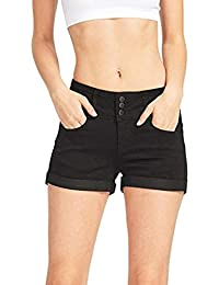 Damen Hosen Sommer Elegant LHWY Frauen Low Waisted Jeanshosen Teen Mädchen  Gewaschen Solide Kurze Mini Jeans Denim Hosen Shorts… a44957930e