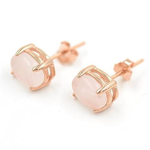 Coussin à quartz rose Coupe Ovale Boucles d'oreille à tige avec Plaqué or rose pour femme avec boîte cadeau
