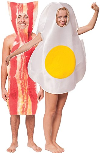Couples Ladies and Mens Bacon & Egg Festival Stag Hen Do Night Funny Fancy Dress Costumes Outfits (One Size)