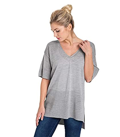 WoolOvers Womens 100% Merino V Neck Tunic Dove Grey, L