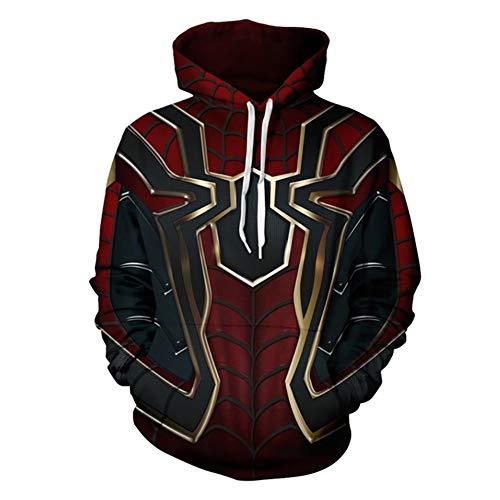 GOGOCC Hoodies & Sweatshirts 3D Digital gedruckt Spider-Man Cosplay Kostüm Pullover Mantel mit Tunnelzug, Frauen Männer Übergröße Zur Seite Fahren Jacke Tops(Dunkelrot ()