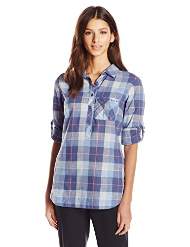 Columbia Sportswear Women's Coral Springs II Woven Long Sleeve Shirt, Bluebell Plaid, X-Small (Long Shirt Sleeve Plaid Woven)